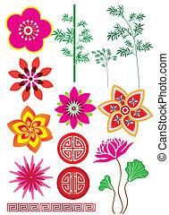 motívum, bambusz, virág