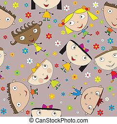 motívum, boldog, menstruáció, seamless, gyerekek