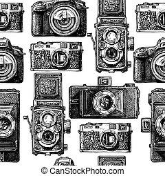 motívum, cameras, seamless, fénykép