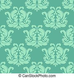 motívum, damaszt, zöld, seamless, fény