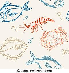 motívum, fish, seamless