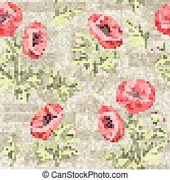 motívum, flowers., mák