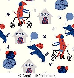 motívum, furcsa, seamless, bycycle., kutyaól, gyermekek, kutyák