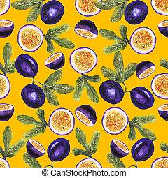 motívum, gyümölcs, indulat, sárga