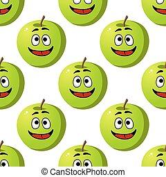 motívum, gyümölcs, zöld, seamless, alma