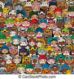 motívum, gyerekek, színezett