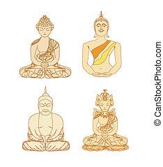 motívum, hagyományos, állhatatos, buddhizmus, művészi, vektor, kínai