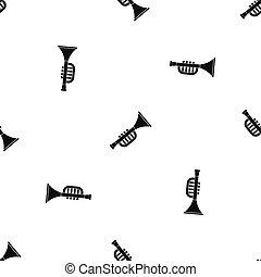 motívum, játékszer, hallócső, seamless, fekete