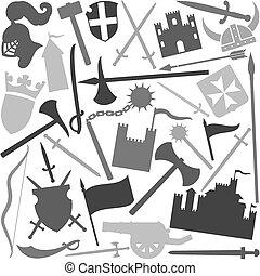 motívum, középkori, seamless, ikon