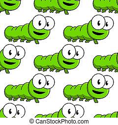 motívum, karikatúra, zöld, seamless, hernyók