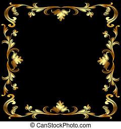 motívum, keret, fekete, arany