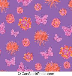 motívum, kert, sárga, narancs, seamless, ismétel, lepke, dream-butterfly, háttér., bíbor, rózsaszínű
