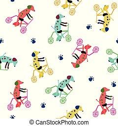 motívum, kutyák, seamless, bicycle., gyermekek, furcsa
