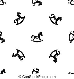 motívum, ló, játékszer, fekete, seamless