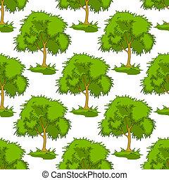 motívum, lombos, zöld, seamless, bitófák