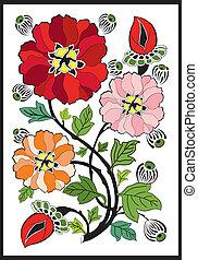 motívum, művészet, -, nouveau, virág