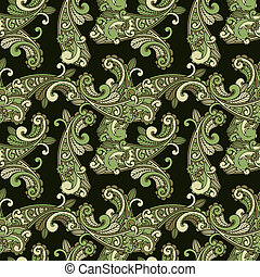 motívum, paisley, vektor, zöld, seamless