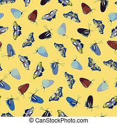 motívum, sárga, butterfly.