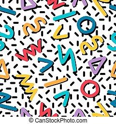 motívum, seamless, alakzat, retro, 80, geometriai