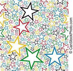 motívum, seamless, csillaggal díszít, többszínű