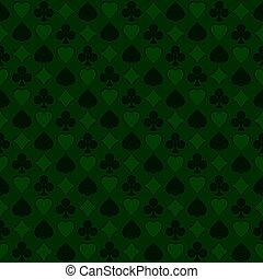 motívum, seamless, díszkíséretek, háttér., zöld, játék kártya