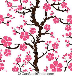 motívum, -, seamless, elágazik, sakura