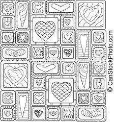 motívum, seamless, eredeti, hearts., szórakozottan firkálgat, rajz