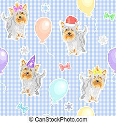 motívum, seamless, gyermekek, vektor, ünnep, kutyák