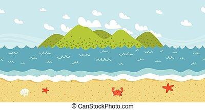 motívum, seamless, lesiklik, vektor, tengerpart, táj