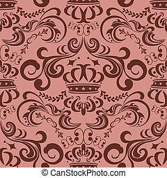 motívum, seamless, rózsaszínű, elvont
