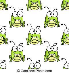motívum, szöcske, betű, seamless, zöld, karikatúra