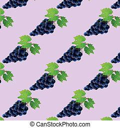 motívum, szőlő, seamless, háttér, fekete