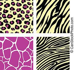 &, motívum, /, tiger, zebra, zsiráf, sárga, leopar, állat, rózsaszínű