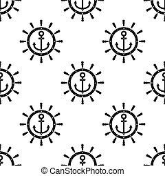 motívum, vektor, fehér, elszigetelt, seamless, gördít, ikon, kormányzó, fekete, háttér., vasmacska, hajó