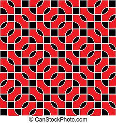 motívum, vektor, fekete, seamless, piros