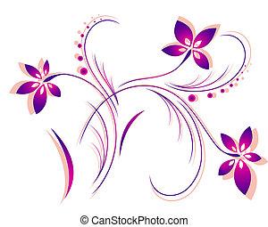 motívum, vektor, virág