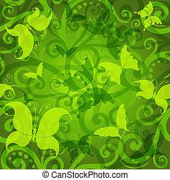 motívum, virágos, zöld