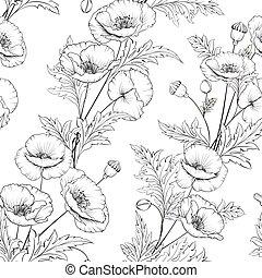 motívum, white virág, mák, háttér.