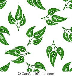 motívum, zöld, fehér, zöld, seamless
