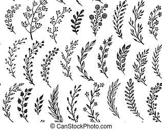 motívum, zöld, kéz, húzott, seamless, branches.