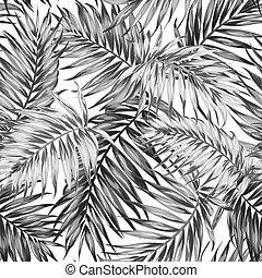 motívum, zöld, seamless, fekete, dzsungel, tropikus, fehér