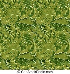 motívum, zöld, -, seamless, tropikus, vektor, háttér