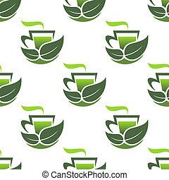 motívum, zöld, szerves, seamless, tea