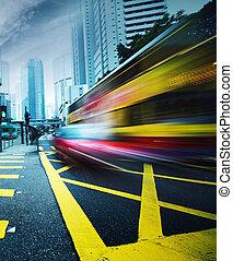 motion., gyorshajtás, autóbusz, életlen