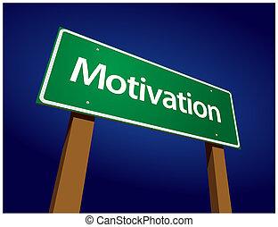 motiváció, zöld, út, ábra, aláír