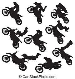 motokrossz, árnykép, freestyle