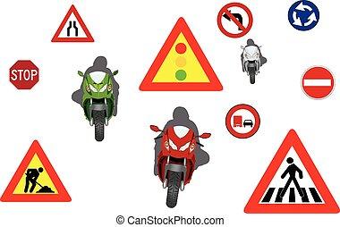 motorcycling, út cégtábla