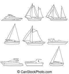 motoros siklócsónak, ikonok, vitorlás hajó, csónakázik, motor, jacht, lineart, editable, állhatatos, edény, ábra, ütés, vektor, hajó, logo.