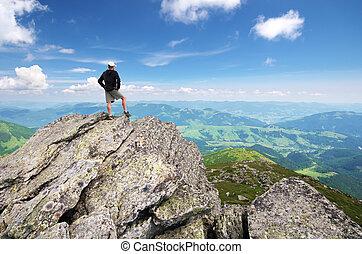 mountain., csúcs, ember