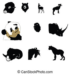 mountain-goat, oroszlán, döngöl, orrszarvú, arab, panda, ló, hiéna, halikra